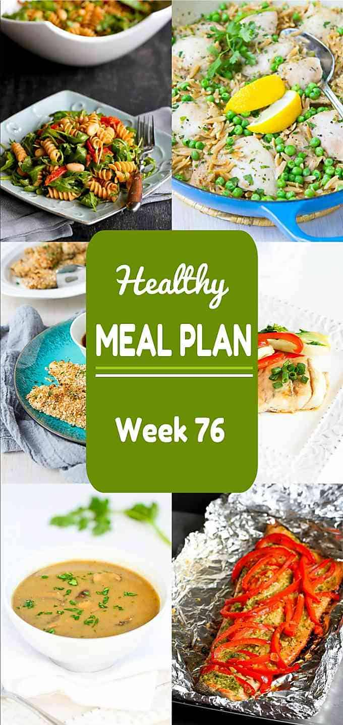 Meal planning time! Week 76 of my healthy meal plans includes both dinnertime entree and side dish ideas. Nutritional information & Weight Watchers SP included. #mealplanning #dinner