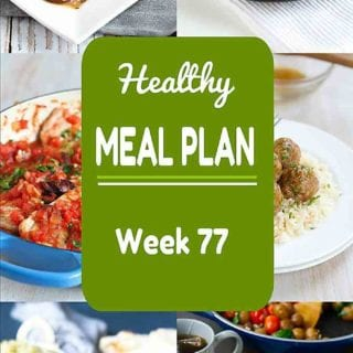 Another batch of healthy dinner ideas in Week 77 of my healthy meal plans! Vegetarian, turkey, pork and fish recipes - a little bit of everything this week. Nutritional information & Weight Watchers SP included. #mealplanning #dinner