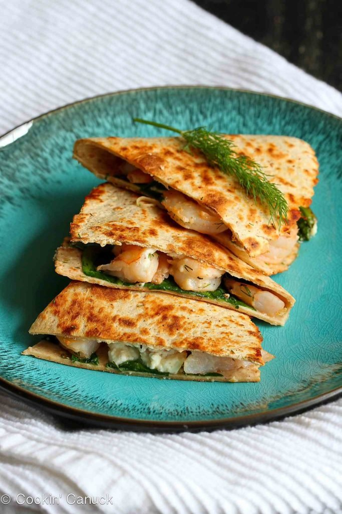 Shrimp quesadillas are always a hit in our house, and these ones are brightened up with lemon and dill. 257 calories and 5 Weight Watchers Freestyle SP #recipe #shrimprecipes