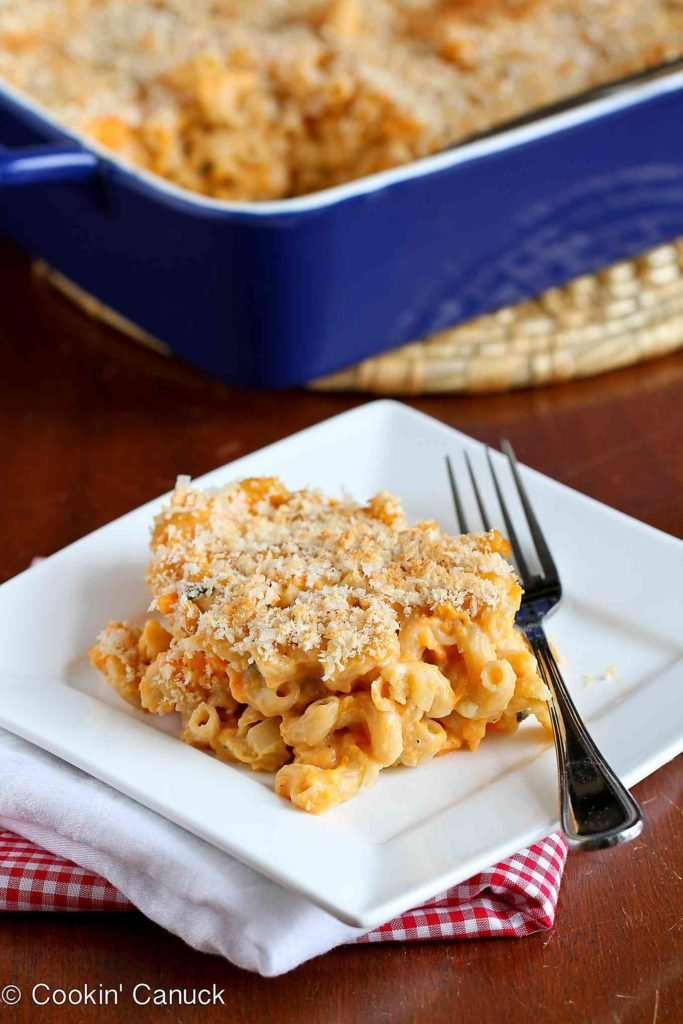 Mac 'n cheese gets a makeover with a lighter cheese sauce and the addition of mashed sweet potato. #dinner #pastarecipes