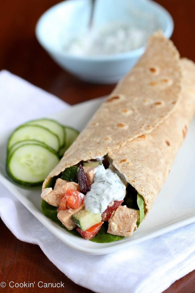 Easy lunch idea! This healthy Greek Chicken Salad Wrap is a breeze to put together and will fill you up until dinnertime. 184 calories and 2 Weight Watchers Freestyle SP #sandwich #chicken