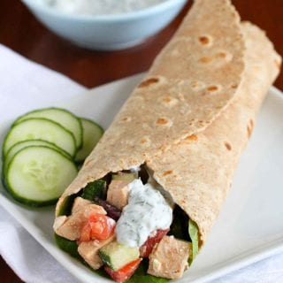 Whip up this tasty low-fat Greek Chicken Salad Wrap in less than 15 minutes. It's packed with vegetables and feta cheese for a satisfying lunch. 184 calories and 2 Weight Watchers Freestyle SP #chickensalad #weightwatchers