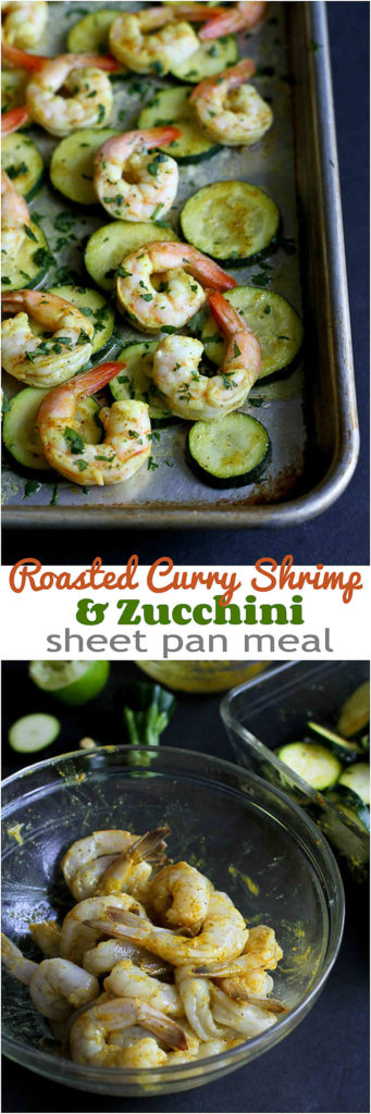 This healthy roasted curry shrimp and zucchini sheet pan meal is not only delicious, but it also comes together in less than 30 minutes. 172 calories and 2 Weight Watchers Freestyle SP #recipe #healthy #weightwatchers