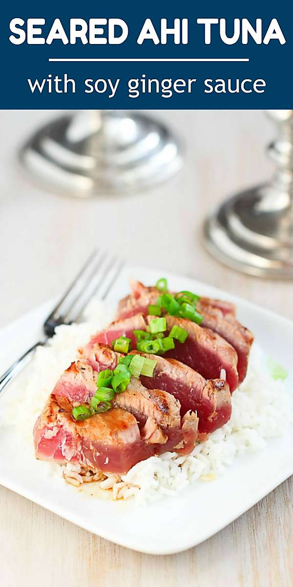 This seared ahi tuna recipe is fantastic for special occasions or entertaining, and it's a breeze to make! 233 calories & 2 Weight Watchers Freestyle SP #healthyrecipes #cleaneating