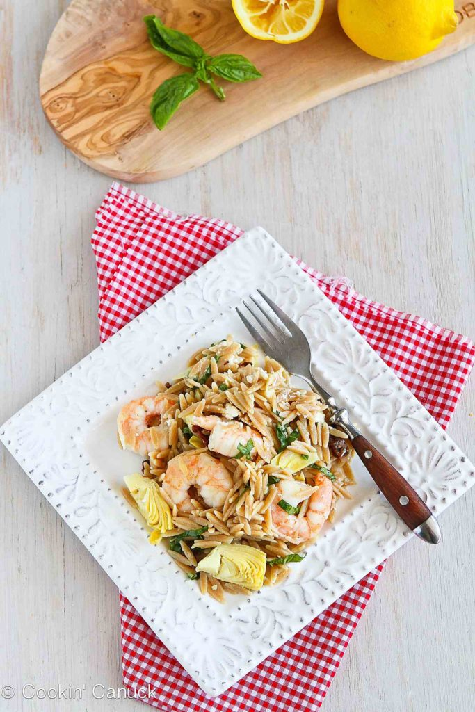 Shrimp pasta salad is one of our family favorites, and it's fantastic for picnics and potlucks. 313 calories and 6 Weight Watchers Freestyle SP #pastasalad #recipe