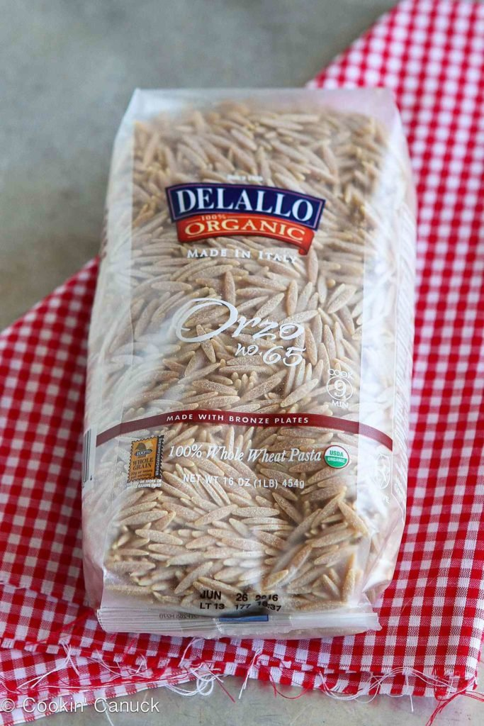 Package of DeLallo whole wheat orzo pasta