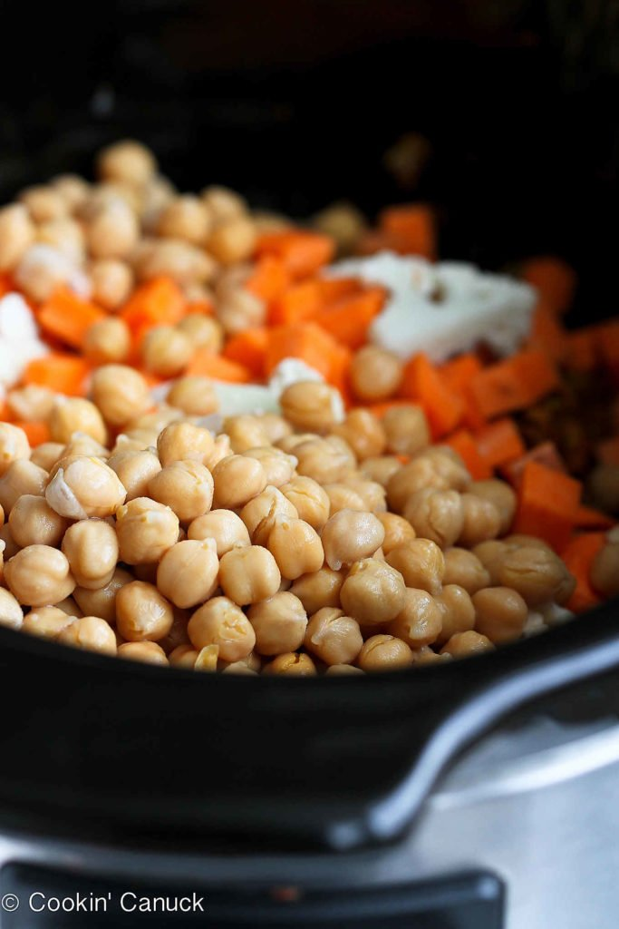 Chickpeas, sweet potato and cauliflower in a large skillet.