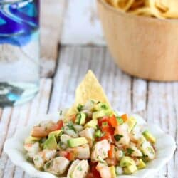 Kick off your Cinco de Mayo celebration with this fresh and booze-spiked shrimp ceviche recipe. 111 calories and 2 Weight Watchers Freestyle SP #ceviche #shrimp #weightwatchers #appetizer