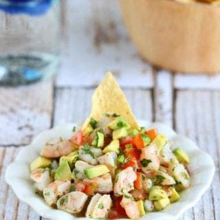 Shrimp ceviche is one of the easiest appetizer to make, and when it's paired with avocado, jalapeno and a splash of tequila, it's downright addictive. 111 calories and 2 Weight Watchers Freestyle SP #avocado #shrimprecipes