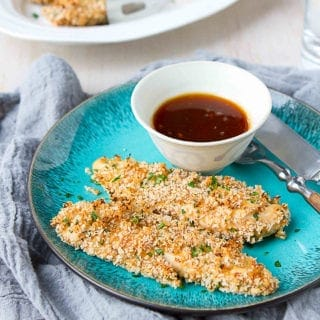 Baked chicken tenders get a flavor makeover with the addition of a homemade teriyaki sauce. Perfectly crispy, sweet and savory! 236 calories and 5 Weight Watchers Freestyle SP #30minutemeal #chickenrecipes #weightwatchers