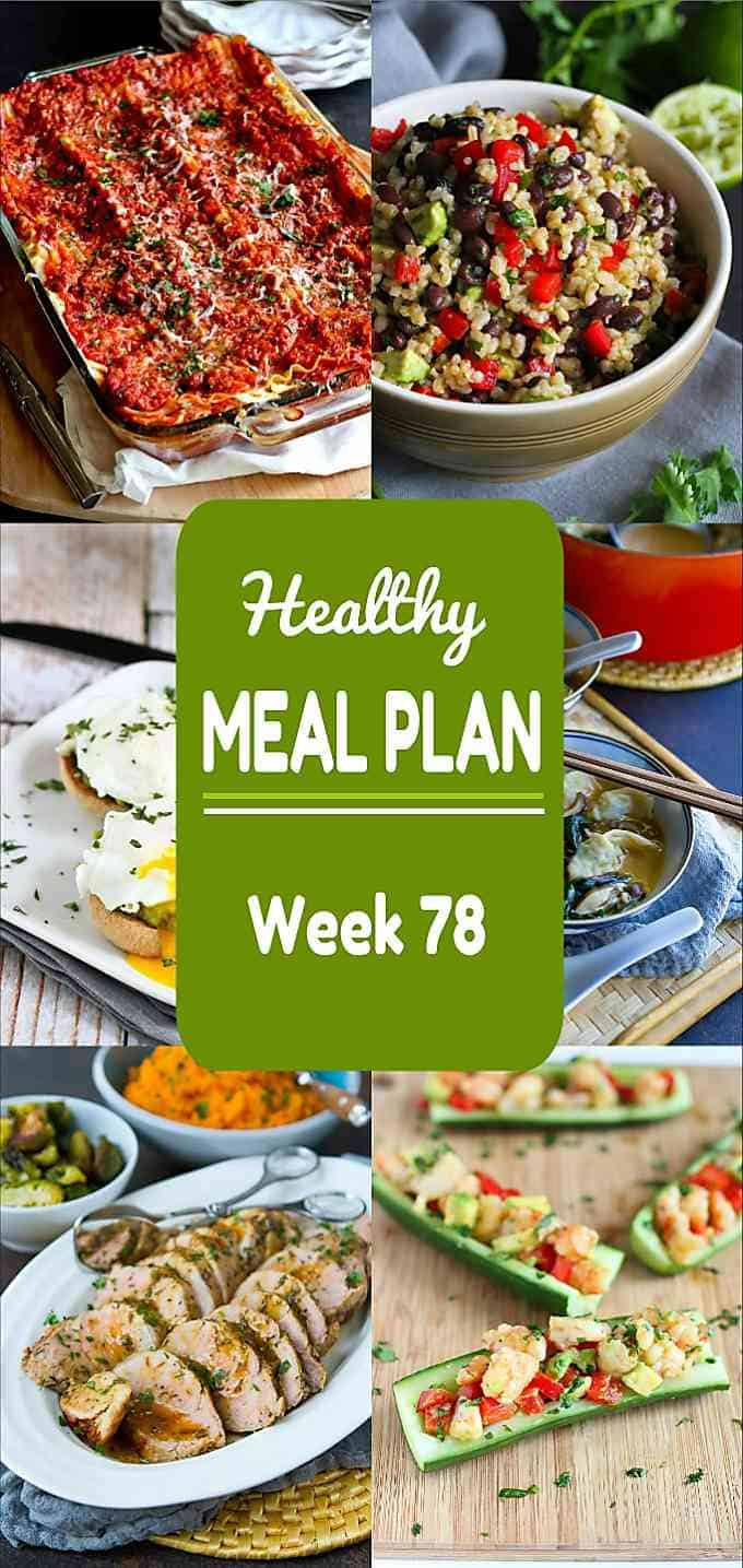 Time for meal planning! Another week of healthy dinner recipes in Week 78 of my healthy meal plans! Plenty of our favorites in this week's edition. Nutritional information & Weight Watchers SP included. #mealplanning #mealplan #dinner