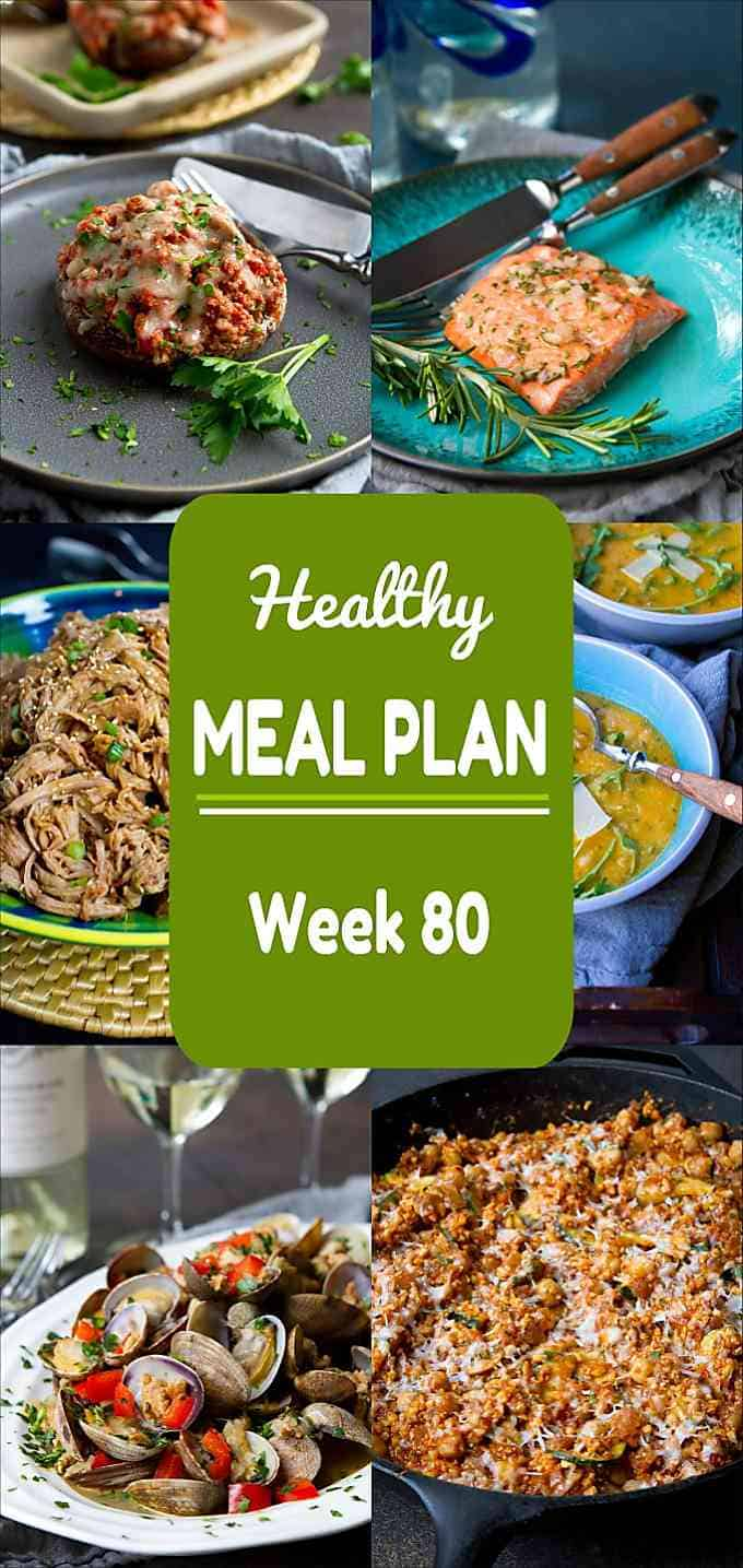 Salmon, soups, skillet meals and more meat and meatless recipes in this week's healthy meal plan! Nutritional information and Weight Watchers SP included. #mealplanning #dinner #recipe