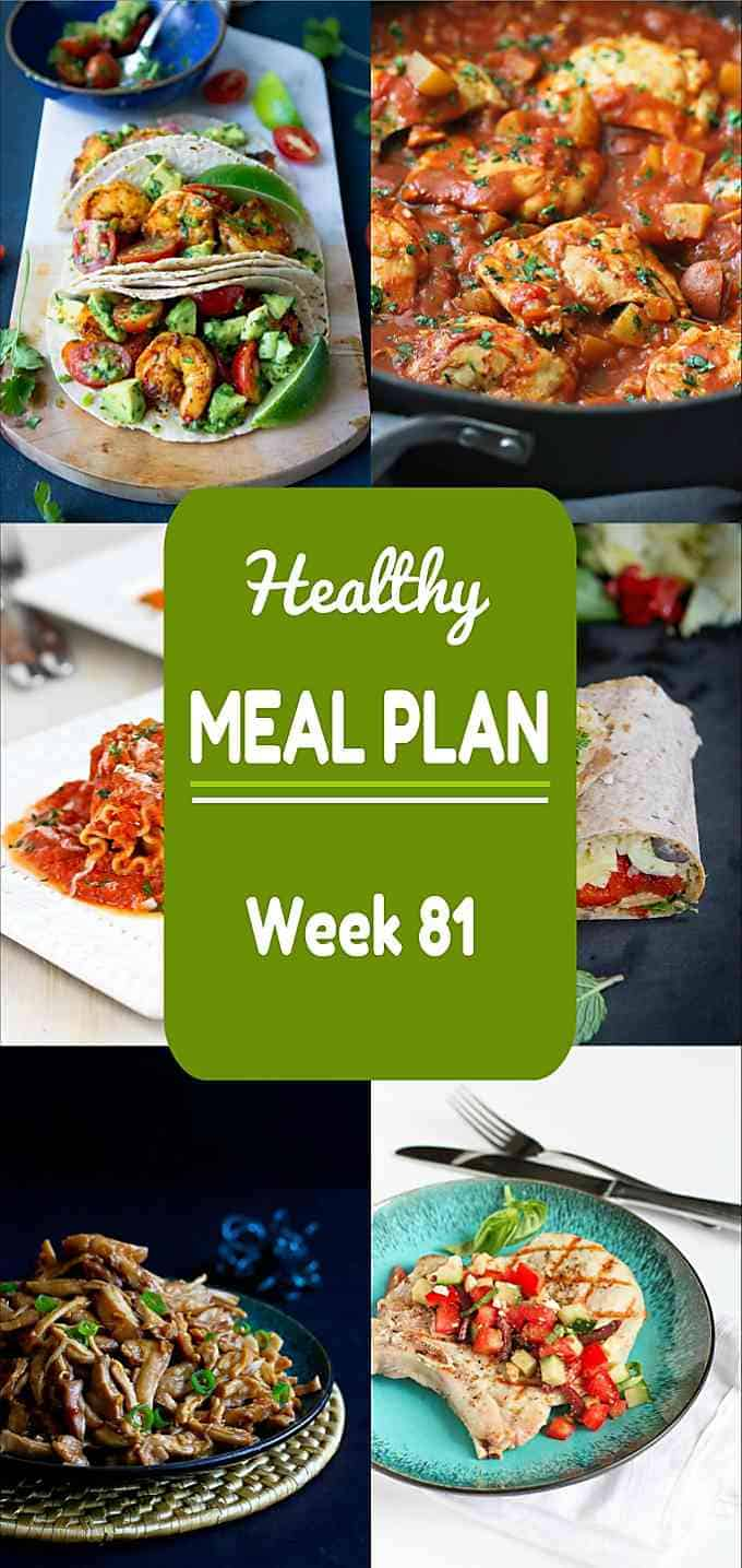 If you're running short on ideas for dinners this week, this week's healthy meal plan has you covered! Nutritional information and Weight Watchers SmartPoints included. #mealplan #mealplanning #dinner #recipe