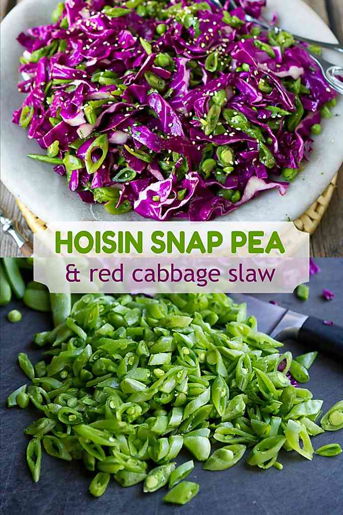 Irresistible flavors in this Asian slaw recipe, made with sliced snap peas and red cabbage. Plus, it's great in tacos or on sliders. 85 calories and 2 Weight Watchers Freestyle SP #weightwatchers #healthyrecipes #snappeas