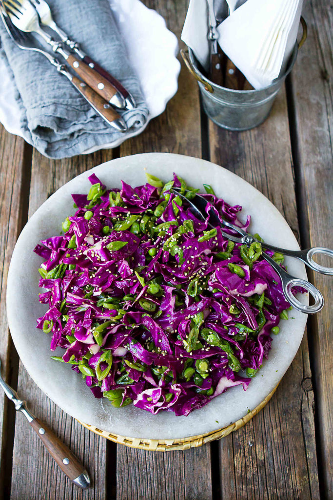 Serve up this snap pea and purple cabbage slaw as a healthy summertime side dish. 85 calories and 2 Weight Watchers Freestyle SP #hoisin #sidedish #salad