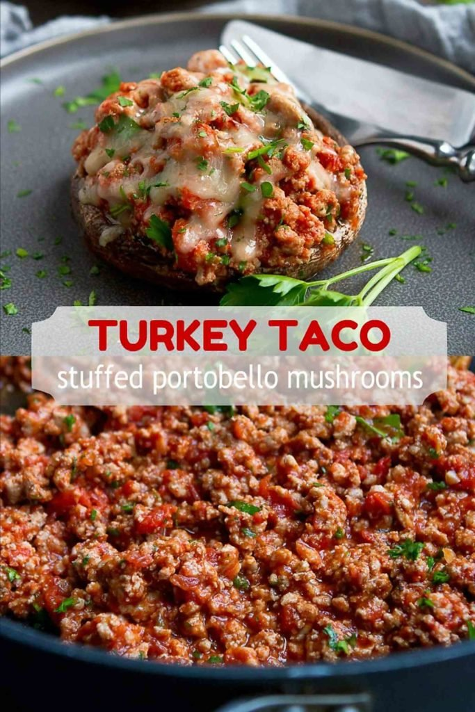 This Turkey Taco Stuffed Portobello Mushroom recipe comes together in about 30 minutes, and is both healthy and delicious! 206 calories and 2 Weight Watchers Freestyle SP #weightwatchers #glutenfree #lowcarb #recipe
