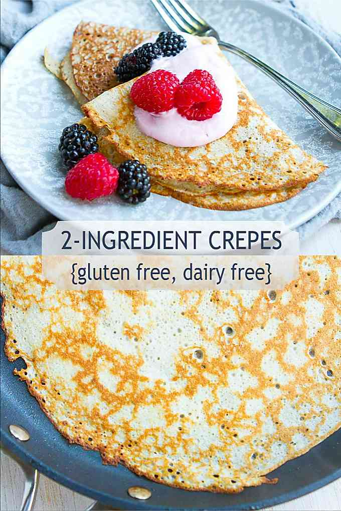Only 2 ingredients needed for these breakfast or dessert crepes! Simple, delicious, gluten free and always the hit of the brunch table. 76 calories and 0 Weight Watchers Freestyle SP #weightwatchers #myfitnesspal #crepes