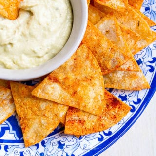 It takes mere minutes to make homemade baked tortilla chips. Sprinkled with smoked paprika and rosemary, these ones are something special! 78 calories and 2 Weight Watchers Freestyle SP #snacks #healthy #weightwatchers