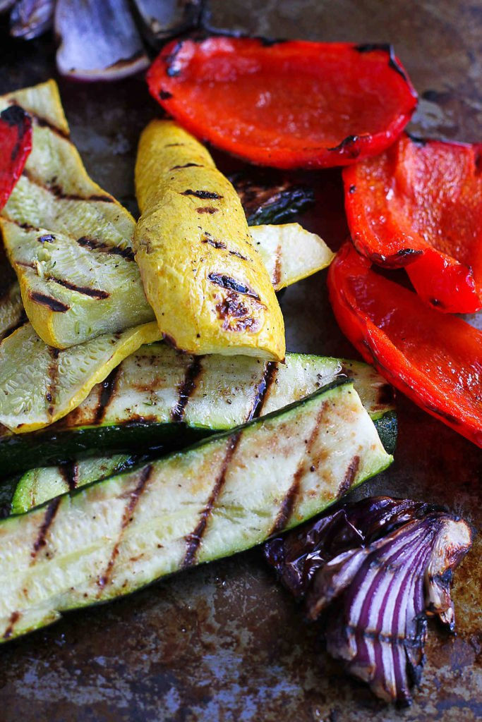 Grilled zucchini, summer squash and peppers.