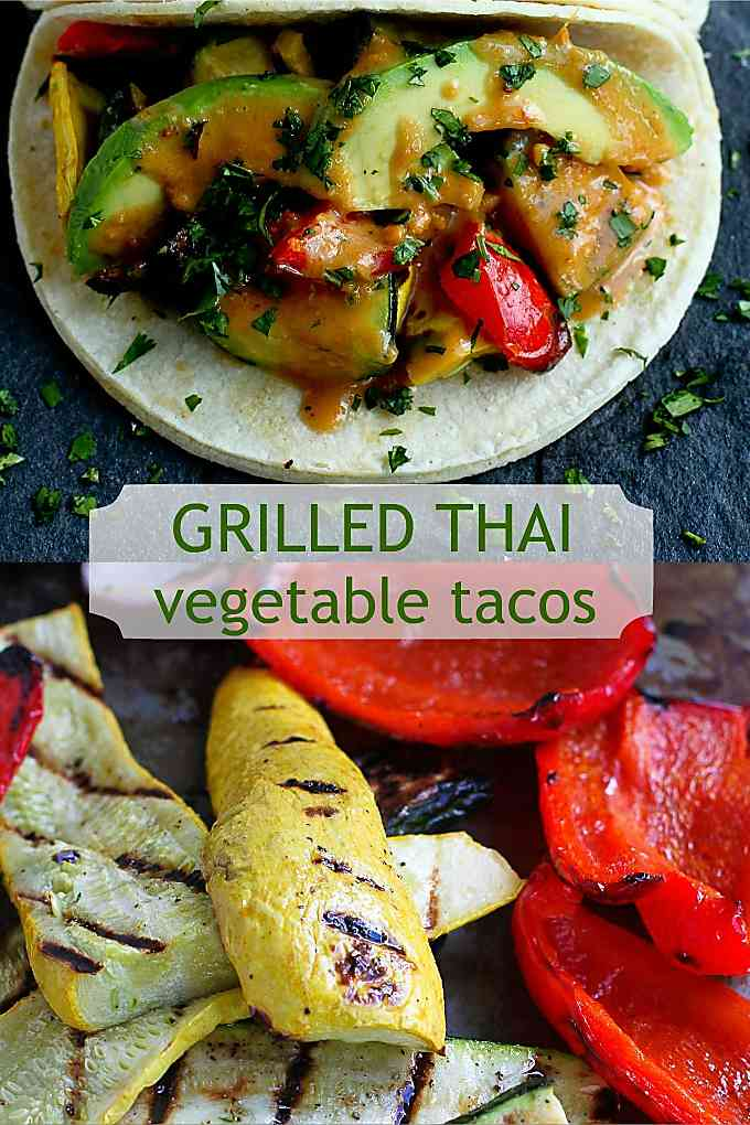 Grilled vegetables and peanut sauce come together for the most flavorful vegetarian tacos! 238 calories and 6 Weight Watchers Freestyles SP #wwfreestyle #vegetarian #meatlessmonday