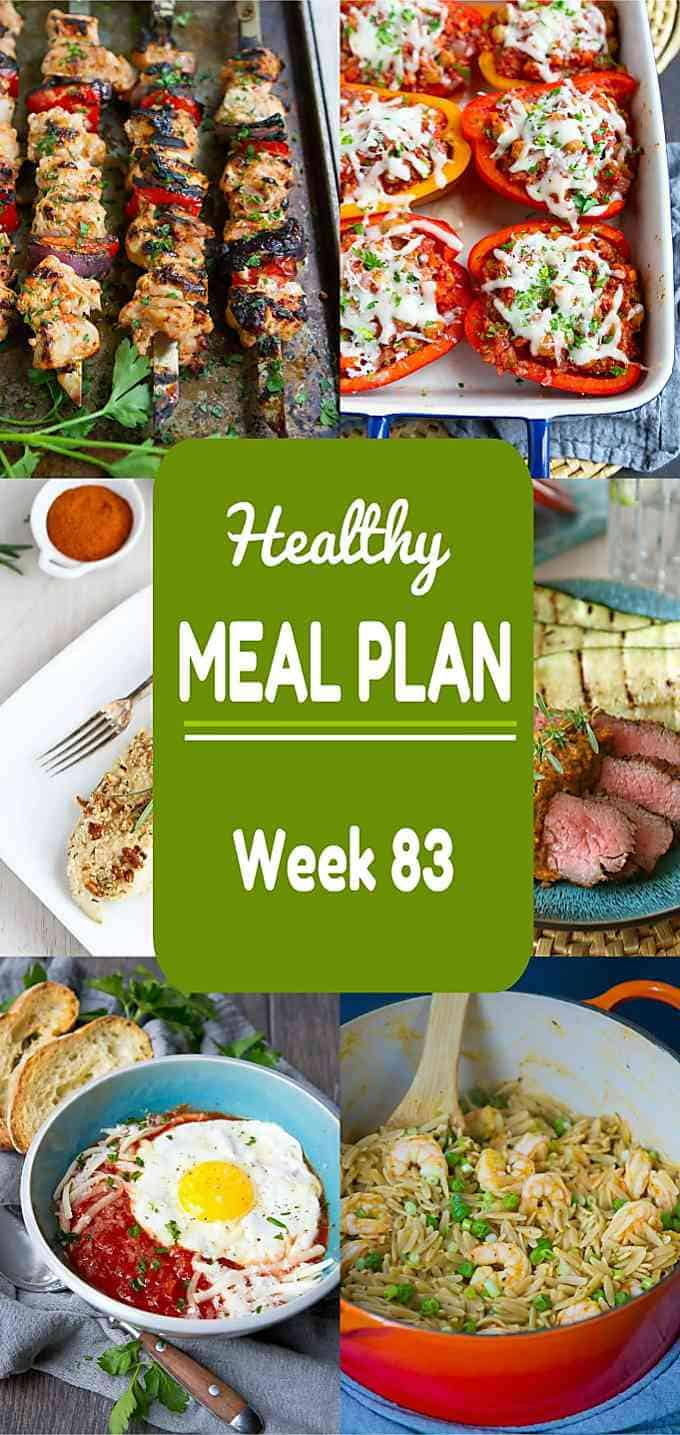 Both grilled and baked recipes are featured in this week's healthy meal plan to match the mix of sunny and cool spring days. Nutritional information and Weight Watchers SmartPoints included. #mealplan #mealplanning #dinner #mealprep