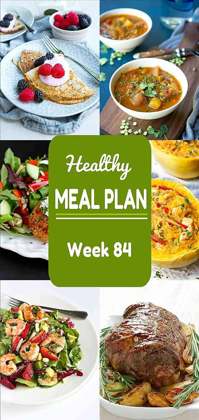A great mix of healthy weekday meals, and holiday brunch and dinner ideas in this week's meal plan! Nutritional information and Weight Watchers SmartPoints included. #mealplanning #mealprep