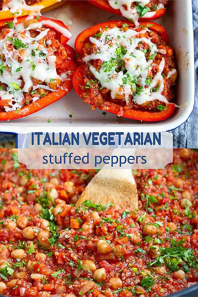 These Italian Vegetarian Stuffed Peppers are so easy to make and are always popular with the whole family! 249 calories and 3 Weight Watchers SP #recipe #wwfreestyle #dinner