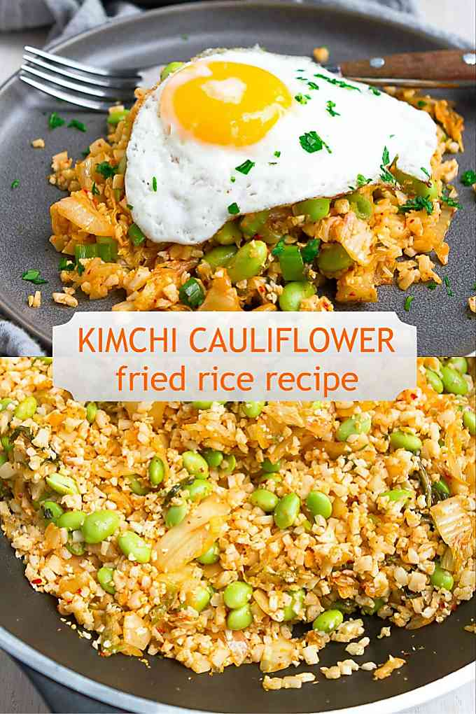This anti inflammatory-friendly dinner recipe is packed with flavor and nutrients. Kimchi cauliflower fried recipe will become regular on your menu! 214 calories and 2 Weight Watchers Freestyle SP #healthyrecipes #smartpoints #eggrecipes