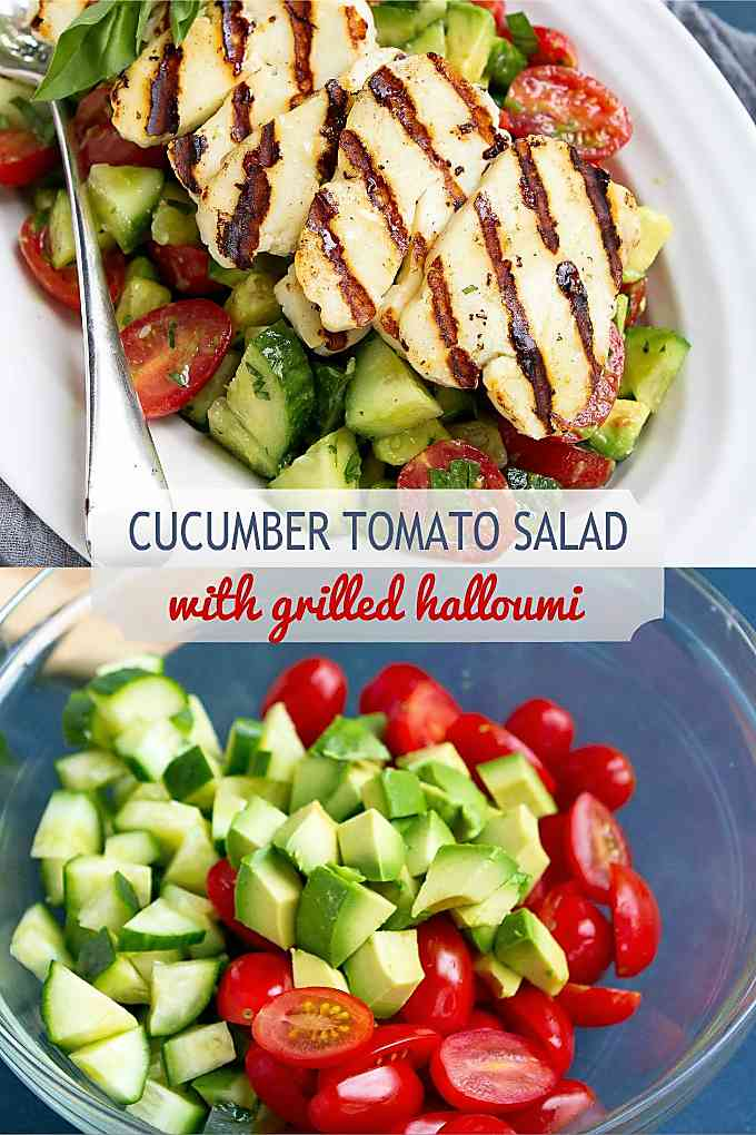 Our new favorite summertime salad! This avocado, tomato and cucumber salad, topped with grilled halloumi is super simple to make. 102 calories and 3 Weight Watchers Freestyle SP #tomatosalad #sidedish #healthyrecipes #wwfreestyle