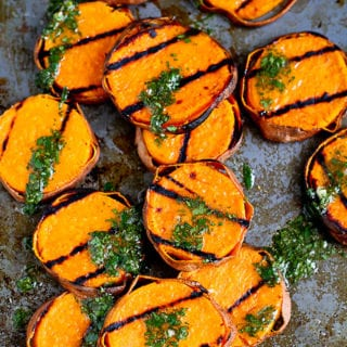 One taste of these grilled sweet potatoes with cilantro vinaigrette will convince you to make this your go-to summer side dish recipe. 118 calories and 3 Weight Watchers Freestyle SP #sweetpotato #grilled #weightwatchers