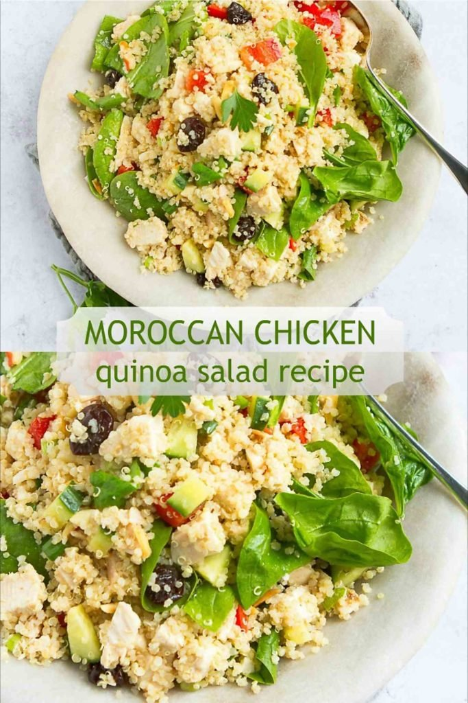 This chicken quinoa salad recipe is easy to make and is a healthy option for dinner or a potluck. 251 calories and 5 Weight Watchers Freestyle SP #wwfreestyle #healthyeating #cleaneating