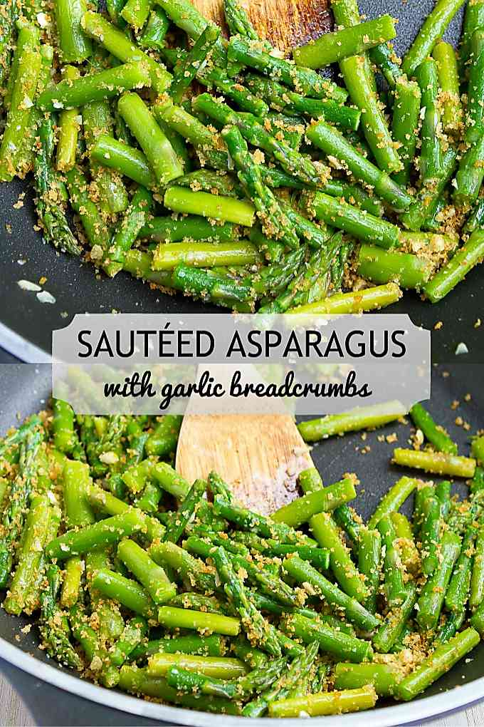 Put this easy asparagus recipe on your menu! Garlic breadcrumbs add some crunch and extra flavor. 88 calories and 2 Weight Watchers Freestyle SP #asparagusrecipes #vegetables #vegetarian