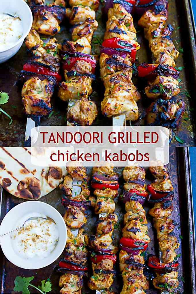 These grilled chicken kabobs take on a ton of flavor from a curry yogurt marinade. Cooks up in minutes! 188 calories and 4 Weight Watchers Freestyle SP #grilledchicken #myfitnesspal #healthyrecipes