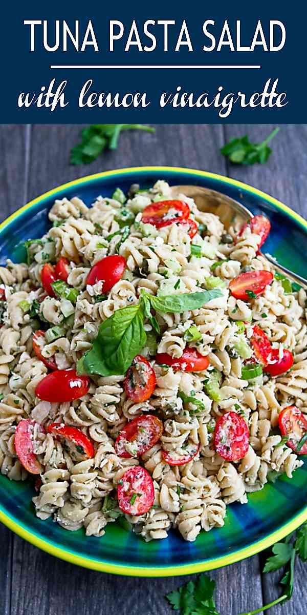 Whip up this easy tuna pasta salad recipe in less than 30 minutes. Fantastic for your next backyard bbq! 198 calories and 5 Weight Watchers SP #weightwatchers #wwfreestyle #recipe