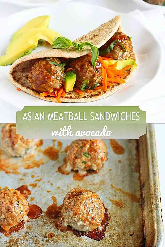 Easy turkey meatballs are slathered in a simple hoisin based sauce and served in flatbreads. 341 calories and 9 Weight Watchers Freestyle SP #meatballsandwich #wwfreestyle #healthydinner