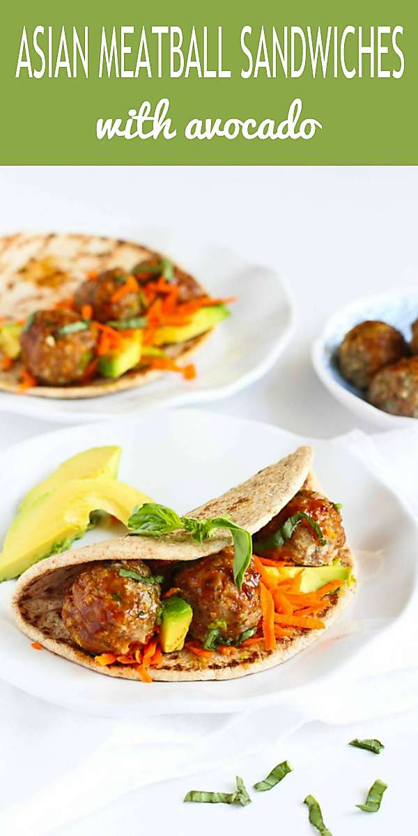 Meatball sandwiches get a flavor makeover with Asian sauce-glazed turkey meatballs and flatbreads. 341 calories and 9 Weight Watchers Freestyle SP #flatbreadsandwich #avocadorecipes #dinner