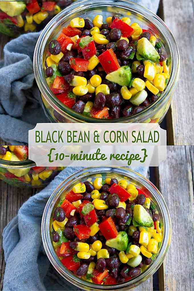 This black bean and corn salad recipe is one we make over and over again year round. Fresh and delicious flavors! 129 calories and 2 Weight Watchers Freestyle SP #weightwatchers #vegetarian #cornrecipes