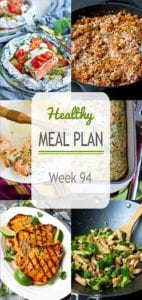 Tons of ideas in this week's healthy meal plan. Meat and meatless meals, easy dinner recipes and comfort food - a little bit of everything. #mealplanning #mealprep