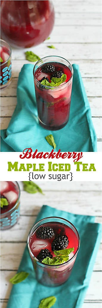 Brewing your own iced tea is easier than you could imagine. Use summertime fruit, such as blackberries, to make a low sugar, healthier version. 55 calories and 2 Weight Watchers Freestyle SP #icedtea #drinks #weightwatchers