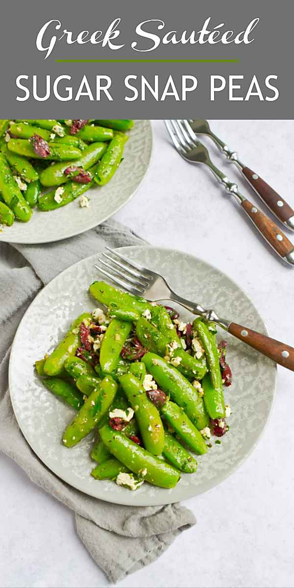 These easy snap peas are a quick and easy side dish for almost any meal. Greek-inspired and delicious! 73 calories and 2 Weight Watchers Freestyle SP #wwfreestyle #healthyrecipes #vegetarian