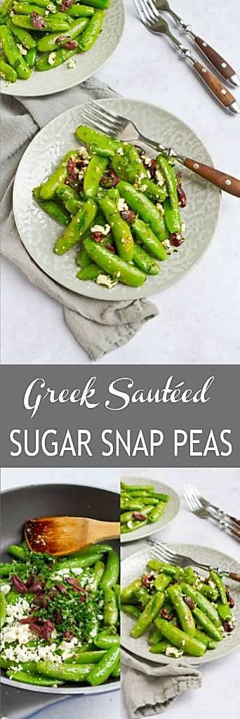 Greek sautéed sugar snap peas have become one of our favorite healthy side dish recipes. Super simple to make and delicious! 73 calories and 2 Weight Watchers Freestyle SP #sugarsnappeas #greekrecipes #weightwatchers