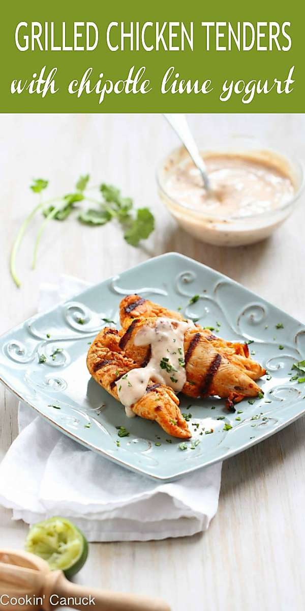 Grilled chicken tenders, served with a zippy chipotle lime yogurt sauce, are an easy way to spice up dinnertime or your next party. 179 calories and 2 Weight Watchers Freestyle SP #weightwatchersrecipes #grilledchicken