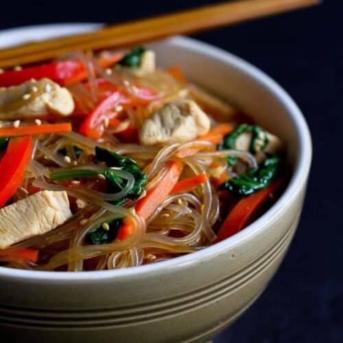 japchae recipe with chicken Korean Glass Noodles with Chicken & Vegetables (Japchae Recipe)