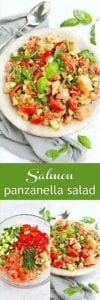 Classic panzanella salad transforms into a dinner salad with the addition of perfectly cooked salmon. Tons of veggies and even more flavor make this a summertime favorite! 377 calories and 5 Weight Watchers Freestyle SP #salmon #panzanella #healthyrecipes #weightwatchers