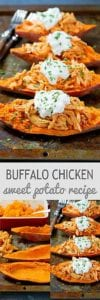 Make this Buffalo Chicken Sweet Potato recipe in just 20 minutes. Perfect for busy weeknights! 240 calories and 4 Weight Wathcers SP #sweetpotatorecipes #myfitnesspal #dinnerideas