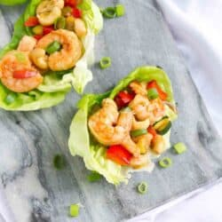 Cashew shrimp is always a favorite takeout meal, but it's super simple (and healthier!) to make at home. Cook up a batch and serve as lettuce wraps for a light meal or appetizers. 169 calories and 3 Weight Watchers SP #shrimp #weightwatchers #lettucewraps