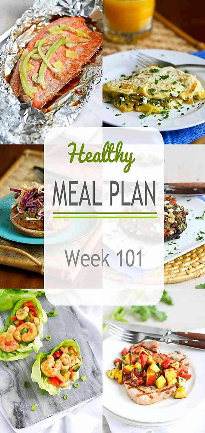 This week's healthy meal plan includes plenty of recipes that will appeal to your family across the board - vegetarian, seafood, chicken and more! #mealplanning #mealplan #dinner