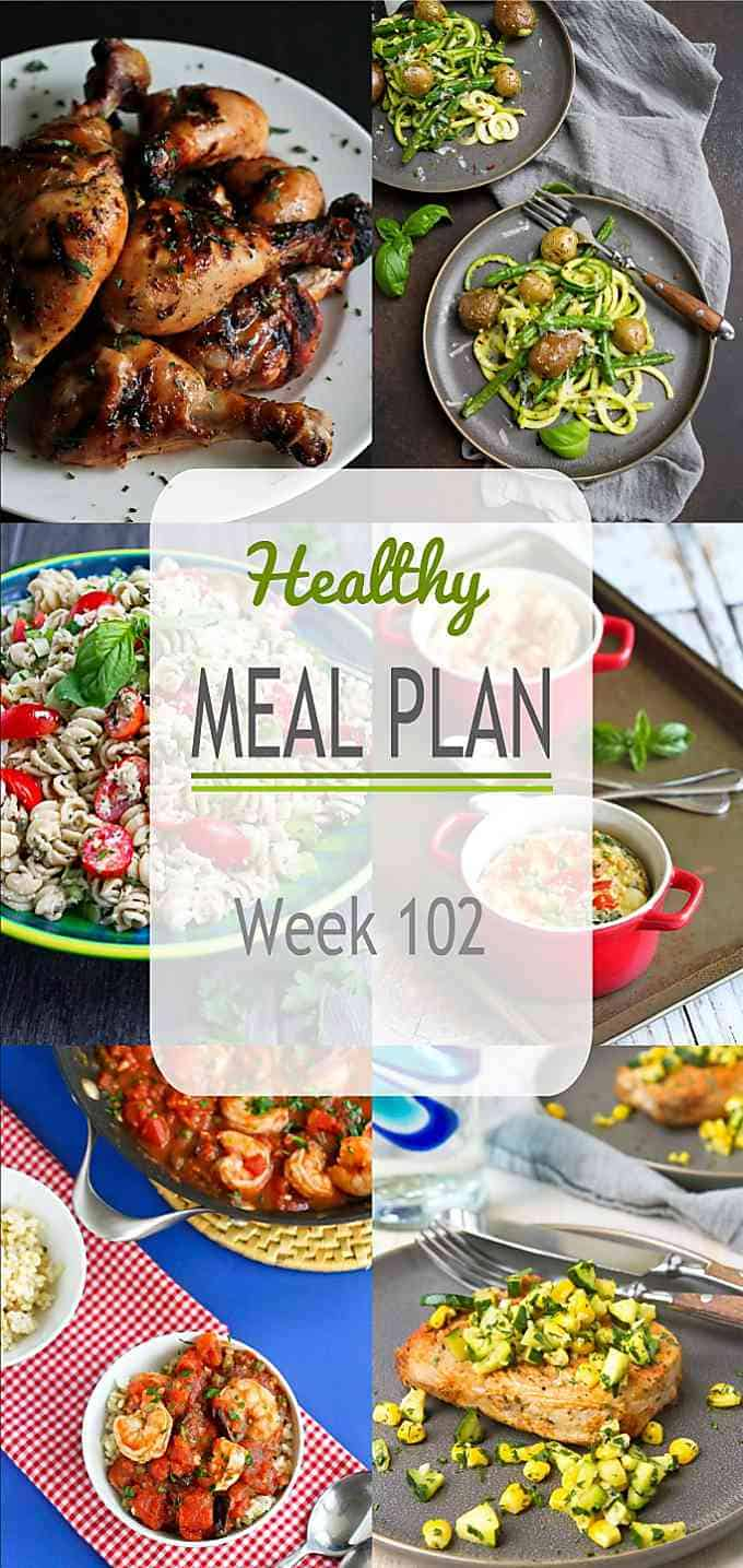 We're diving into summertime produce with this week's healthy meal plan. Zucchini, corn and tomatoes for days! #mealplanning #mealplan #dinner