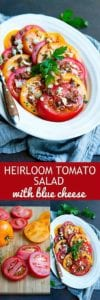 I can never stop eating this amazing Heirloom Tomato Salad. Topped with blue cheese crumbles and an easy vinaigrette. 86 calories and 3 Weight Watchers Freestyle SP #tomatorecipes #weightwatchers #healthyeating