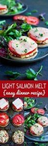 Save these light salmon melts for a busy weeknight. Simple, healthy and tasty! 172 calories and 4 Weight Watchers Freestyle SP #salmon #healthyeating #weightwatchers